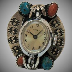 Rare Vintage Navajo Native American Indian Watch Ring Coral Turquoise Sterling Silver
