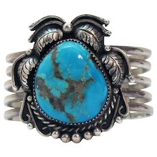 One Week ONLY Spectacular Signed CM Navajo Native American Indian Vintage Cuff Bracelet Sterling Silver Turquoise Gemstone