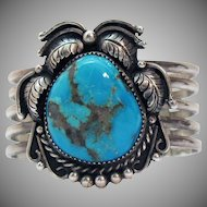 Spectacular Signed CM Navajo Native American Indian Vintage Cuff Bracelet Sterling Silver Turquoise Gemstone