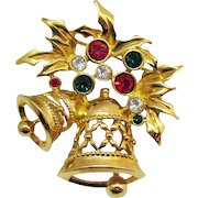 Festive Signed Avon Vintage Rhinestone Christmas Joyous Bell Brooch Unworn