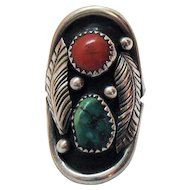 50% OFF Navajo Native American Indian Southwestern Sterling Silver Vintage Coral Turquoise Saddle Ring Shadow Box