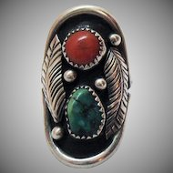 Navajo Native American Indian Southwestern Sterling Silver Vintage Coral Turquoise Saddle Ring Shadow Box