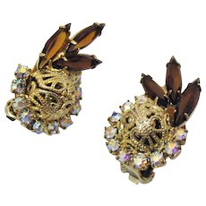 DeLizza Elster D&E Juliana Vintage Topaz AB Rhinestone Clip Earrings