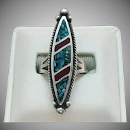 Early Zuni Native American Indian Vintage Sterling Silver Inlay Ring Elongated