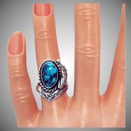 Unique Signed BJ Navajo Native American Indian Vintage Sterling Silver Turquoise Ring