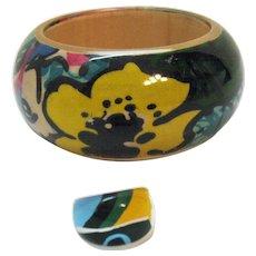 Awesome Pop Art Huge Vintage Lucite Hand Painted Bubble Bangle Bracelet Ring Set