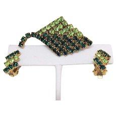 Vintage Emerald Peridot Green Rhinestone Kite Brooch Earrings Set