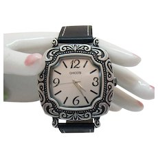 Vintage Signed Chico's Leather Heavy Metal Wrist Watch