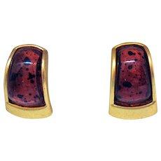 Fabulous Vintage Gold Plated Lucite Leopard Clip Earrings