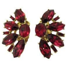 Huge Vintage Red Rhinestone Golden Clip Earrings