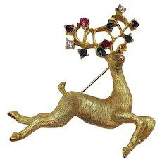 Delightful Vintage Golden Rhinestone Reindeer Christmas Brooch