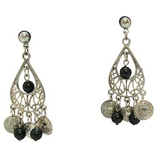 Vintage Pierced Earrings Silver Black Glass Beaded Faux Coins