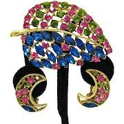 Stunning Vintage Rhinestone Naturalistic Brooch Clip Earrings Set