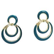 Beautiful Vintage Enameled Teal Golden Hoop Pierced Earrings