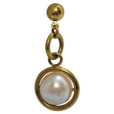 Vintage Faux Pearl Sphere Double Ring Pierced Earrings