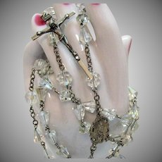 Signed OTC Italy Sterling Silver Religious Faceted Crystal Glass Bycone Rosary