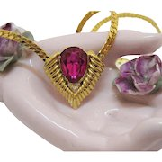 Vintage Yellow Gold Plated Faux Pink Sapphire Tear Drop Necklace