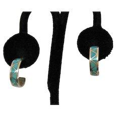 Vintage Sterling Silver Geometric Mosaic Inlay Pierced Hoop Earrings