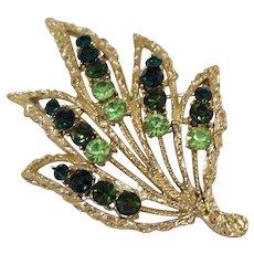 Beautiful Vintage Large Emerald Peridot Green Rhinestone Golden Brooch