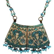 Unusual Vintage Brass Turquoise Beaded Cloisonné Enameled Lariat Necklace