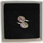 Petite Signed Mexico Sterling Silver Vintage Abalone Bypass Ring Hand Crafted Size 2