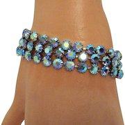 Sparkling Vintage Blue Aurora Borealis Rhinestone Triple Row Bracelet