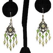Vintage Signed 925 Yellow CZ Green Glass Heart Pierced Earrings Sterling Silver