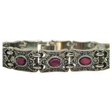 Heavy Vintage Fuchsia Stone Marcasite Silver Colored Rhodium Plated Bracelet
