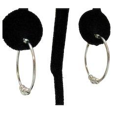 Vintage Sterling Silver Beaded Pierced Hoop Earrings