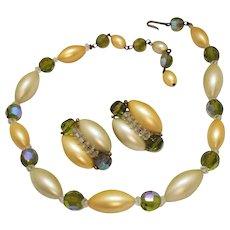 Vintage 1940s Plastic Faux Matt Pearl Facet Beaded Necklace Earrings Set