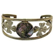 Hand Crafted Sterling Silver Signed Mexico Vintage Abalone Flower Vine Cuff Bracelet