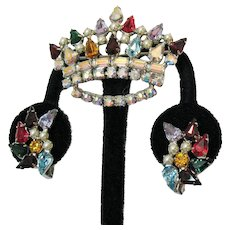 Signed B David Vintage Rhinestone Crown Brooch Clip Earrings Set Mother's Crowns