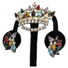 Signed B David Vintage Rhinestone Crown Brooch Clip Earrings Set Mother's Crowns