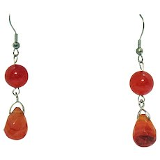 50% Off New Old Stock Vintage Stainless Steel Baltic Amber Beaded Briolette Dangle Pierced Earrings Unworn