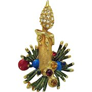 Vintage Christmas Candle Rhinestone Enameled Brooch