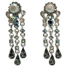 Vintage Hematite AB Rhinestones Silver Metal Pierced Earrings 2 ¼ Long