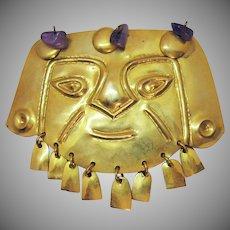 Vintage Hammered Brass Figural Face Tribal Peruvian Aztec Warrior Amethyst Gemstone Brooch