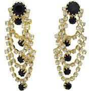 Gorgeous Vintage Swag Black Clear Rhinestone Pierced Earrings 2 Inches Long