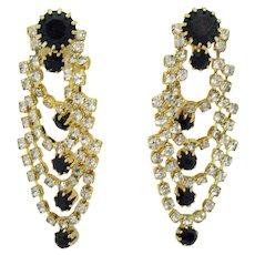 Gorgeous Vintage Swag Black Clear Rhinestone Pierced Earrings 2 Inches Long