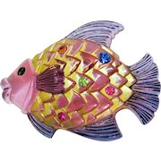 Awesome Pink Lucite Painted Vintage Rhinestone Figural Puff Fish Brooch