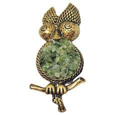 Vintage Antique Gold Metal Jade Figural Owl Brooch