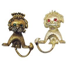 Hard to Find Unsigned Tortolani Whimsical Shaggy Maine Lion Figural Scatter Pins Brooches