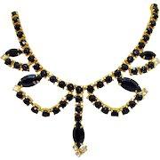 Super Nice Vintage Black Rhinestone Golden Swag Choker Necklace