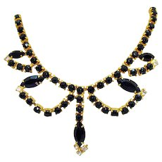 Super Nice Vintage Black Rhinestone Golden Swag Choker Necklace