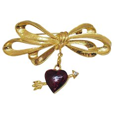 Vintage Unusual Signed Pfister Enterprises 1996 Enameled Heart Arrow Bow Brooch