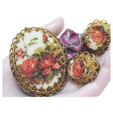 Vintage Signed West Germany Porcelain Transfer Ware Necklace Earrings Set