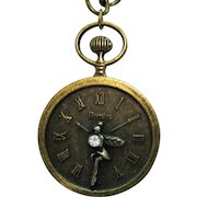 Signed Romlss Vintage Brass Faux Figural Fairy Pendant Watch Necklace