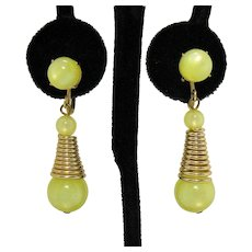 Signed Mid Century Modern Dangle Luminous Yellow Glass Beaded Vintage Screw Back Earrings FREE SHIPPING