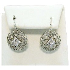 Vintage Filigree Heart Cubic Zirconia Cluster Pierced Earrings
