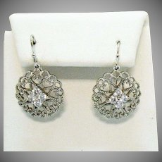 Vintage Filigree Heart Cubic Zirconia Cluster Pierced Earrings
